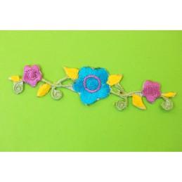 APPLIQUE TISSU THERMOCOLLANT : fleur 100*22mm (03)