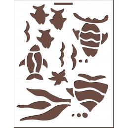 POCHOIR VINYLE BEIGE  23 x18cm : poissons exotiques