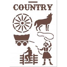 POCHOIR EN PLASTIQUE MYLAR BEIGE 21 x 29,7 cm : Country cowboy