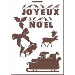 POCHOIR EN PLASTIQUE MYLAR BEIGE 21 x 29,7 cm : Joyeux Noel