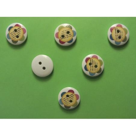 LOT 6 BOUTONS BOIS : rond thème mercerie boite aiguille 15mm (15)