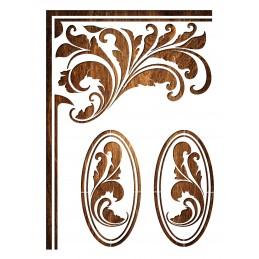 POCHOIR EN PLASTIQUE MYLAR  Format A4 (21*29.7cm)  Feuille d'angle baroque et motifs