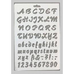POCHOIR EN PLASTIQUE MYLAR  Format A4 (26*17 cm)  Alphabet chiffres et ponctuation