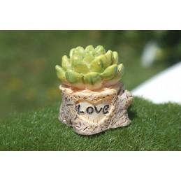 MINIATURE RESINE : cactus dans son pot décoratif hauteur 2.5cm (06)