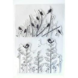2 Tampons en silicone transparent  motifs : oiseaux sur branches