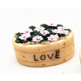 MINIATURE RESINE : bac forme ovale fleuri 2.9*2cm