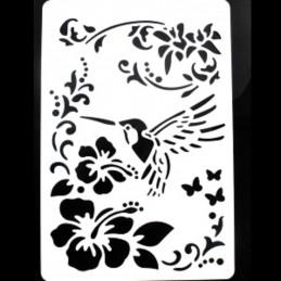 POCHOIR PLASTIQUE 26*18cm : oiseau et fleur
