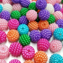 LOT 20 PERLES ACRYLIQUES : boules micro-perles multicolores 9mm (02)