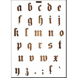 POCHOIR EN PLASTIQUE MYLAR  Format A4 (21*29.7cm)  Alphabet Germanica Lettres minuscules