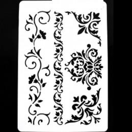 POCHOIR PLASTIQUE 26*17cm : frises, angles et fleurs baroques