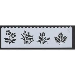 POCHOIR PLASTIQUE 19*6cm : feuille et fleurs