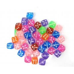 LOT 20 PERLES ACRYLIQUES : dés à jouer transparent multicolore 8 mm