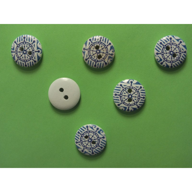 LOT 6 BOUTONS BOIS : rond thème mer 15mm (44)