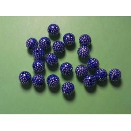 LOT 20 PERLES ACRYLIQUES :  rondes bleu/brillantes 8mm