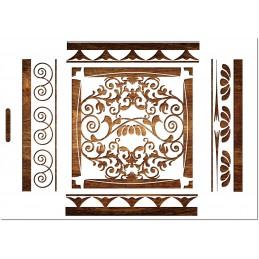 POCHOIR  EN PLASTIQUE MYLAR  Format A4 (21 * 29,7 cm) : Motif baroque pour frise murale
