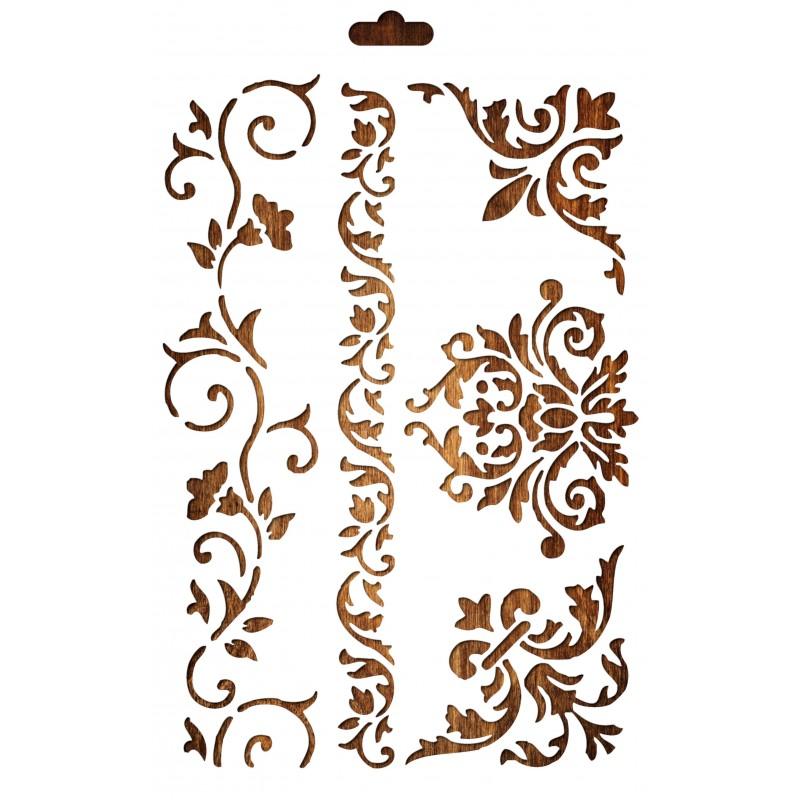 POCHOIR PLASTIQUE 30*21cm : frises, angles et fleurs baroques