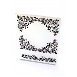 Classeur d'embossage en plastique motif Cadre fleuri et ornementé format  14.5*10.6*0.3 cm