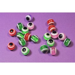 LOT 50 PERLES ACRYLIQUES :  ovales yeux multicolores 8 mm