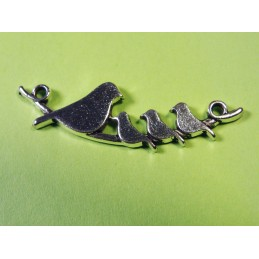 LOT 5 CONNECTEURS métal argent : oiseaux 40*10mm
