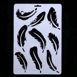 POCHOIR PLASTIQUE 30*21cm : plumes