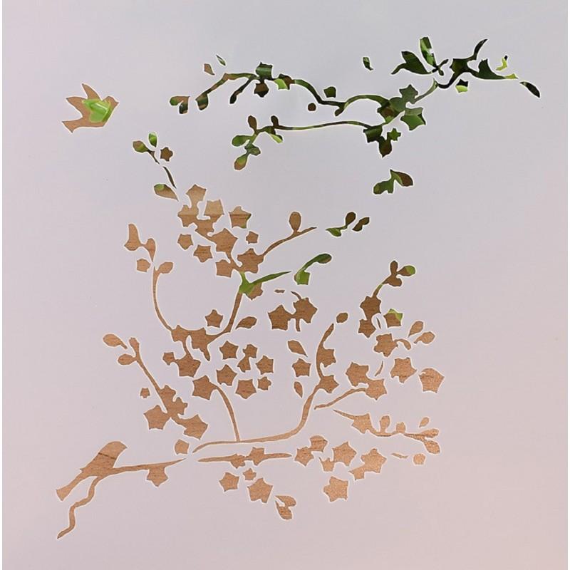 POCHOIR PLASTIQUE 13*13cm : branches et oiseaux