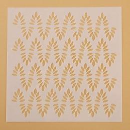 POCHOIR PLASTIQUE 13*13cm : mur motif feuilles