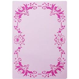 POCHOIR PLASTIQUE 27*18cm : cadre motif fleuris