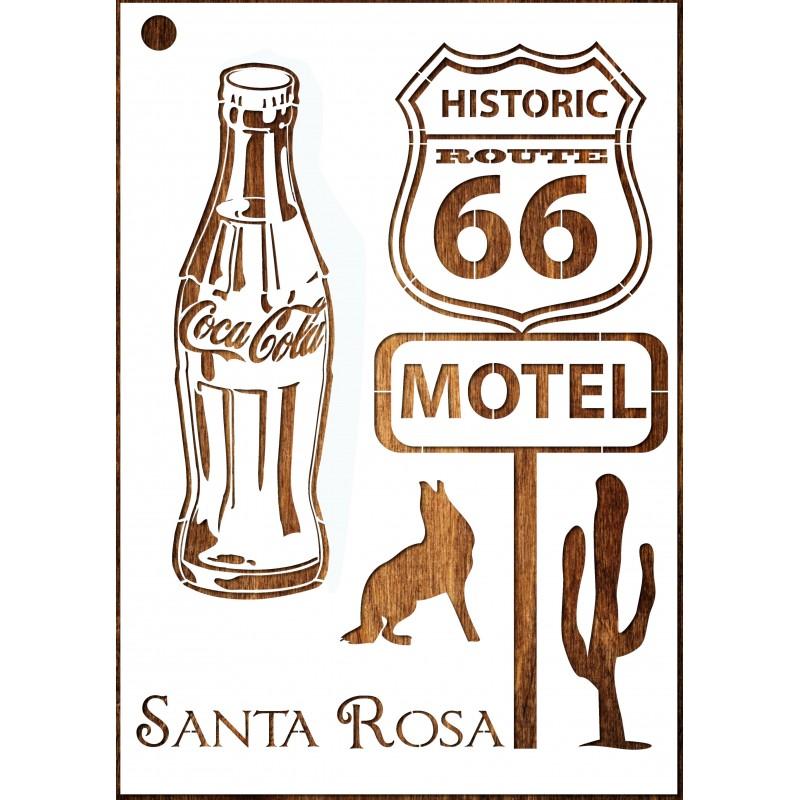 POCHOIR EN PLASTIQUE MYLAR Format A4 (21 * 29,7 cm) : Route 66 vintage thême