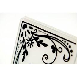 """Classeur carré d'embossage 5 x 5 cm en plastique motif """" angle baroque """""""