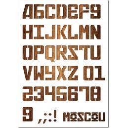Pochoir Lettre A4 en plastique Mylar Alphabet Russian 33 mm