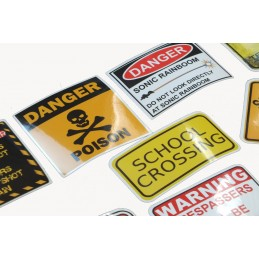 LOT DE 45 stickers en quadrichromie thême Attention Danger