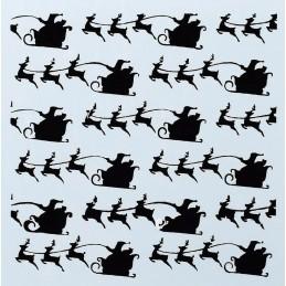POCHOIR PLASTIQUE 13*13cm : traineau du Père Noël et ses rennes