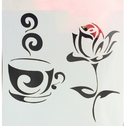 POCHOIR PLASTIQUE 13*13cm : tasse café et rose