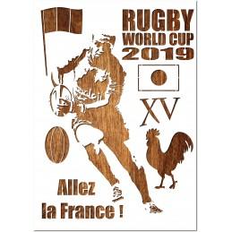 POCHOIR PEINTURE EN PLASTIQUE MYLAR Format A4 (21 * 29,7 cm) : Cupe du monde de rugby 2019