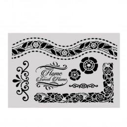 POCHOIR PLASTIQUE 30*21cm : frises, cadres et motifs fleuris