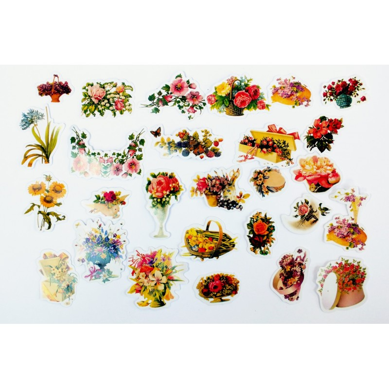 LOT DE 40 stickers autocollants en quadrichromie thême Bouquets fleuris 20 à 50 mm
