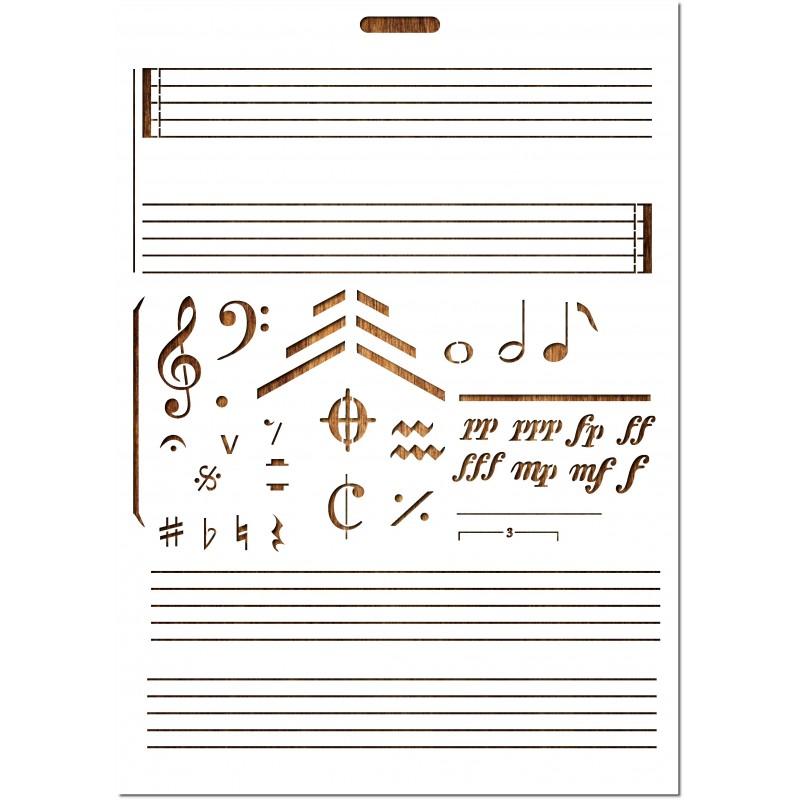 POCHOIR EN PLASTIQUE MYLAR Format A4 (21 * 29,7 cm) : Symbols et éléments de partitions