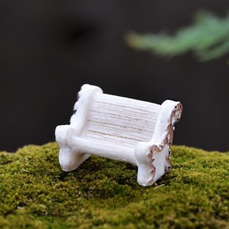 MINIATURE EN RESINE : banc blanc/marron
