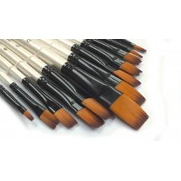 Lot de 12 pinceaux plat N°1 /12 en poil de nylon ultra fin pack de 30 * 12 cm