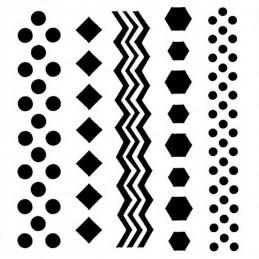 POCHOIR PLASTIQUE 13*13cm : formes géométriques
