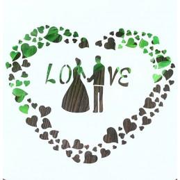 POCHOIR PLASTIQUE 13*13cm : coeur mariage (01)