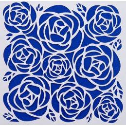 POCHOIR PLASTIQUE 13*13cm : roses (09)