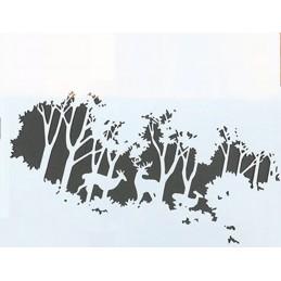 POCHOIR PLASTIQUE 26*18cm : cerf dans la forêt