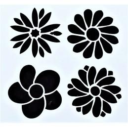 POCHOIR PLASTIQUE 13*13cm : Fleurs (23)