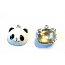 LOT 2 BRELOQUES/CHARMS METAL DORES : panda 17mm (01)