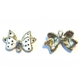 LOT 2 BRELOQUES/CHARMS METAL DORES : noeud papillon blanc 25*16mm (01)