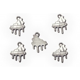 LOT 5 BRELOQUES/CHARMS METAL ARGENTES : piano 19*15mm