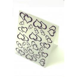 Classeur d'embossage en plastique motif double coeur  format  14.5*10.6*0.3 cm