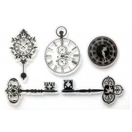 5 Tampons en silicone transparent  motifs : Clés anciennes montre à gousset horloges