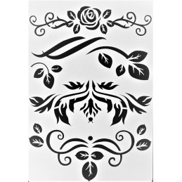 POCHOIR PLASTIQUE 26*18cm : roses, fleurs et feuilles